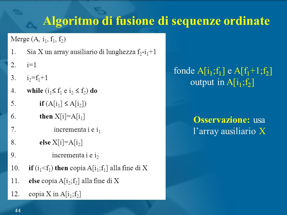 Osservazione: usa l'array ausiliario X