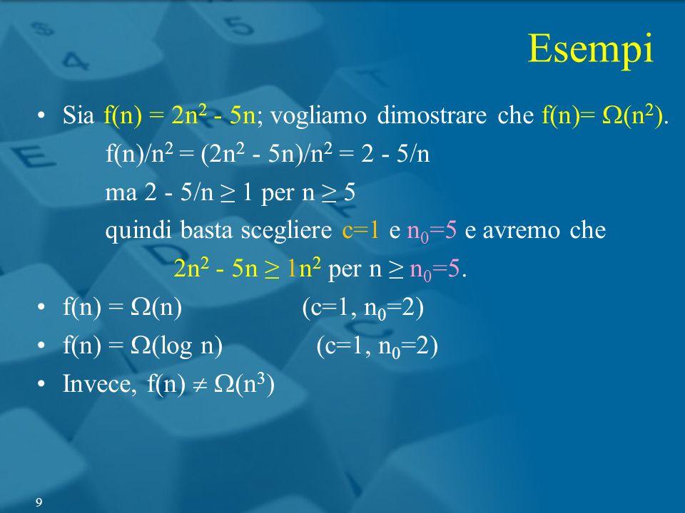 Esempi Sia f(n) = 2n2 - 5n; vogliamo dimostrare che f(n)= W(n2).
