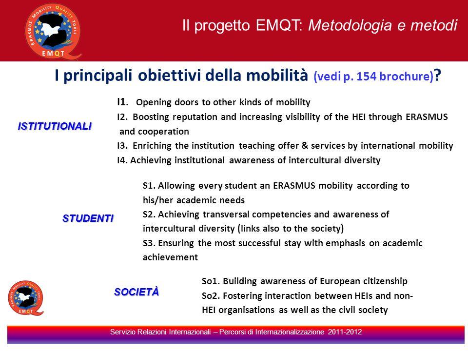I principali obiettivi della mobilità (vedi p. 154 brochure)