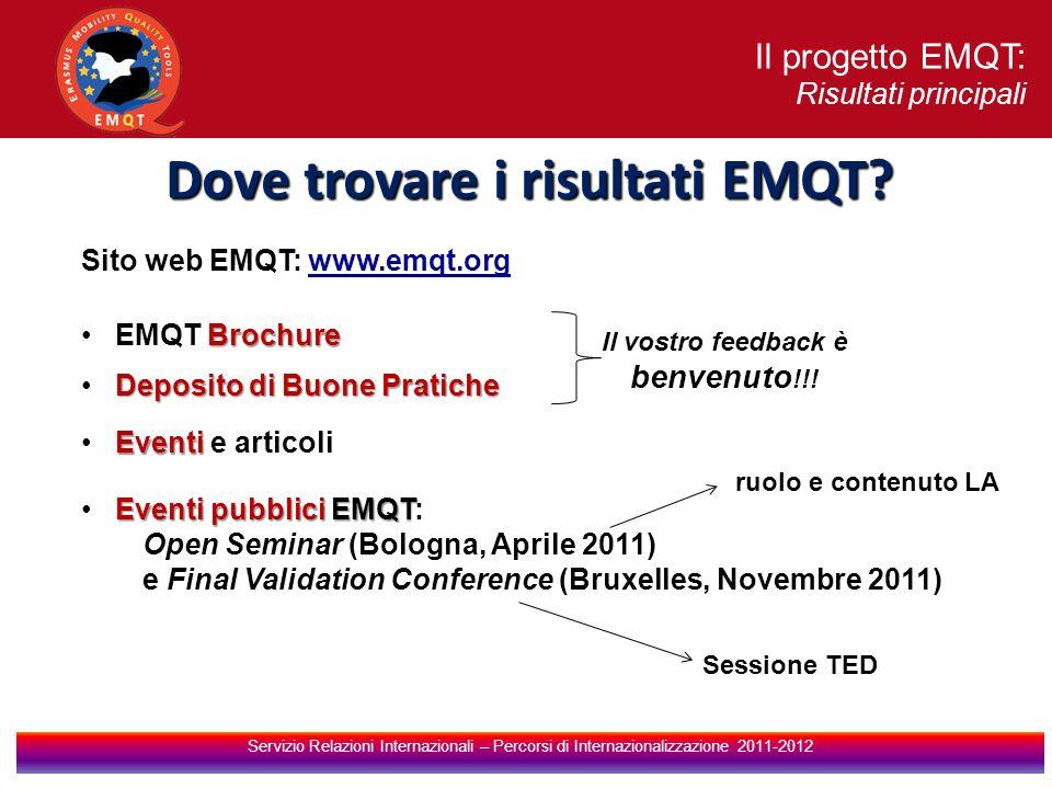 Dove trovare i risultati EMQT Il vostro feedback è benvenuto!!!