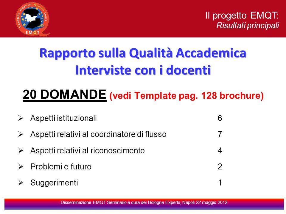 Rapporto sulla Qualità Accademica Interviste con i docenti