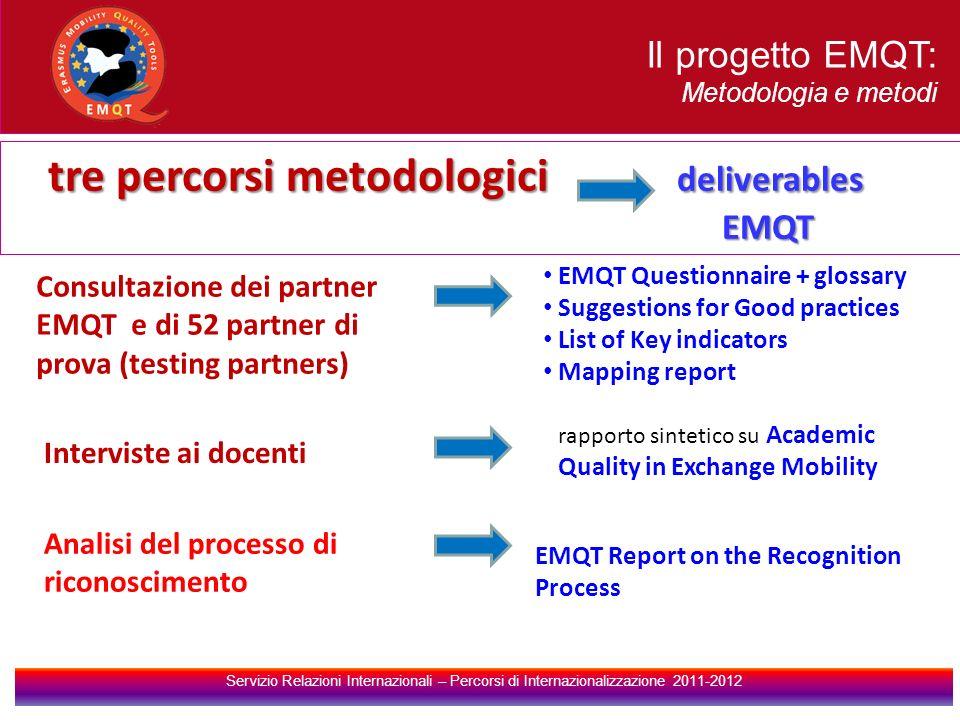 tre percorsi metodologici deliverables EMQT