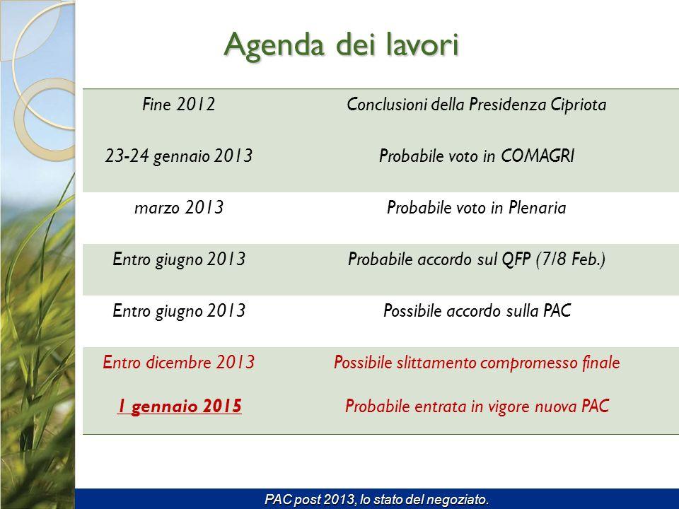 Agenda dei lavori Fine 2012 Conclusioni della Presidenza Cipriota