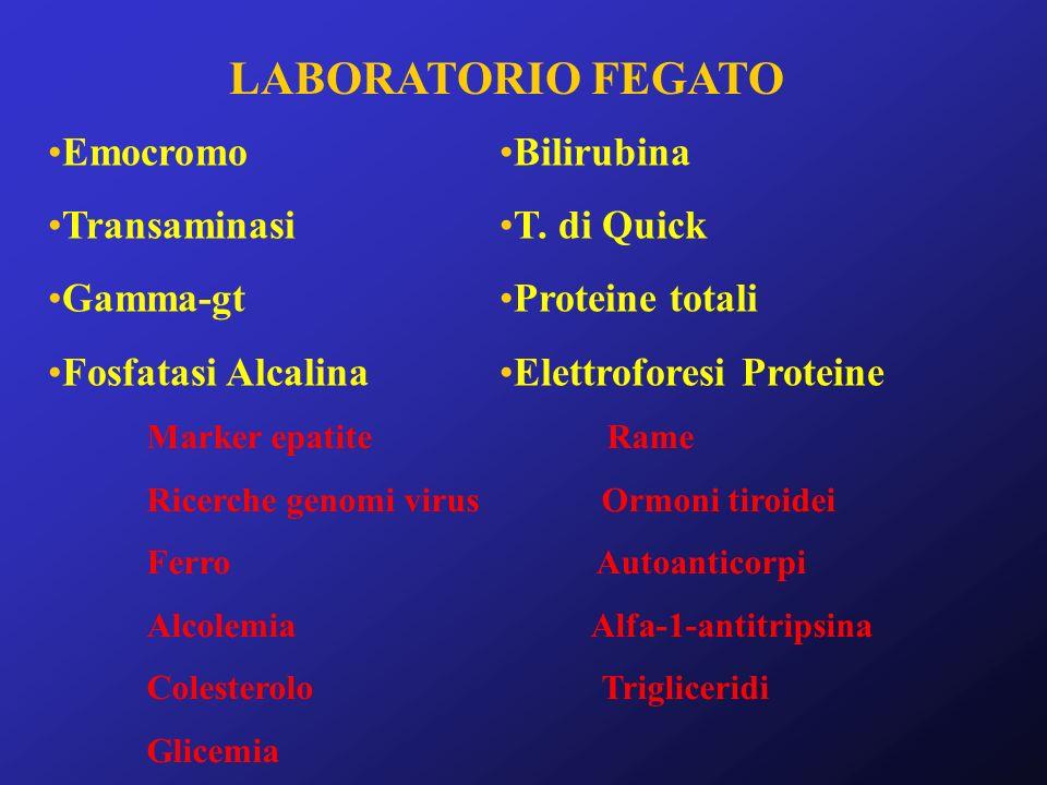 LABORATORIO FEGATO Emocromo Transaminasi Gamma-gt Fosfatasi Alcalina