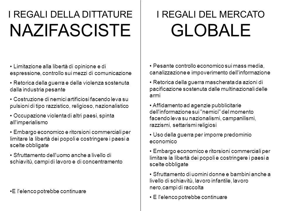 I REGALI DELLA DITTATURE NAZIFASCISTE I REGALI DEL MERCATO GLOBALE
