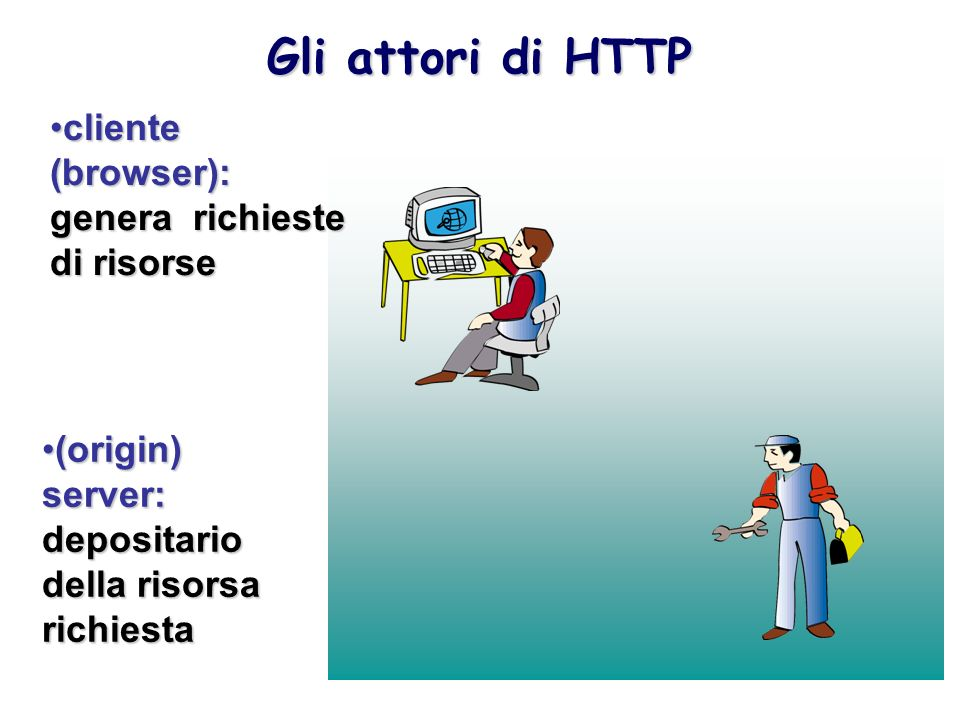 Gli attori di HTTP cliente (browser): genera richieste di risorse