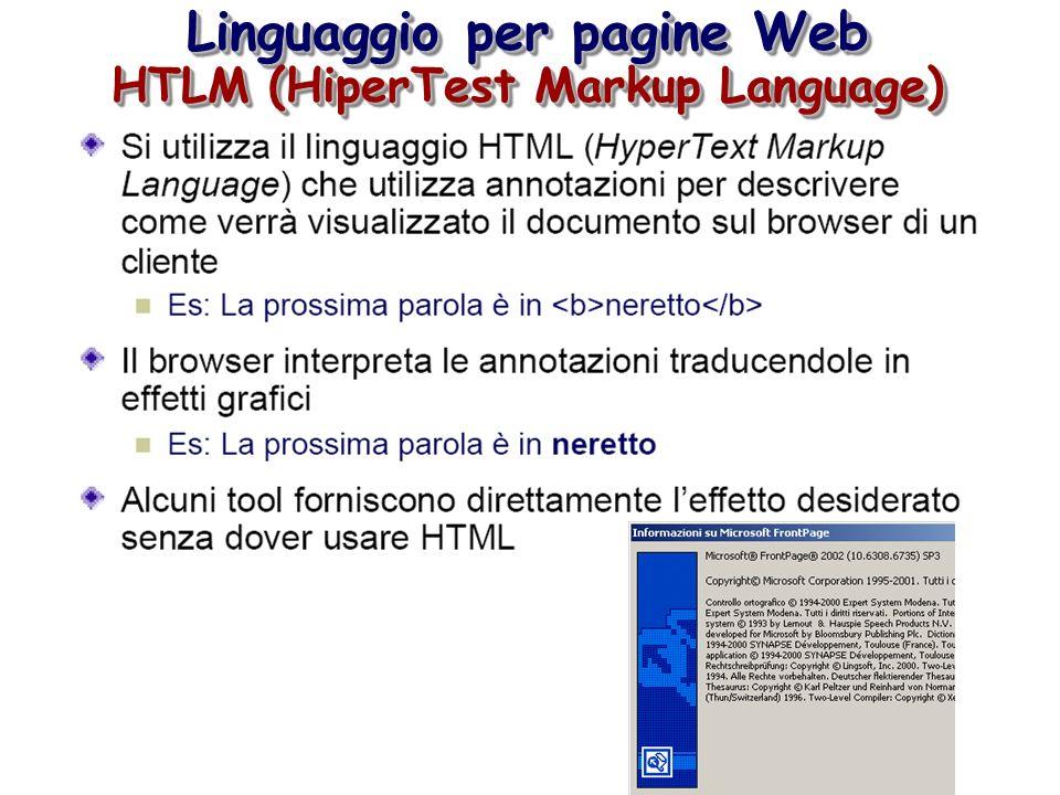 Linguaggio per pagine Web HTLM (HiperTest Markup Language)
