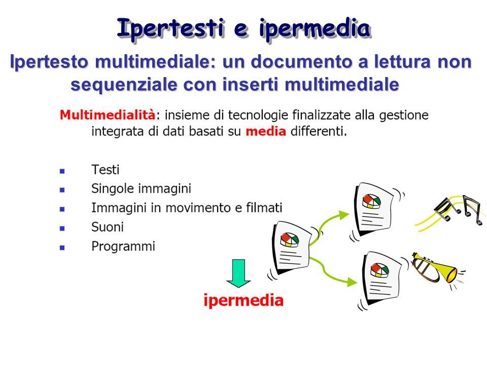 Ipertesti e ipermedia Ipertesto multimediale: un documento a lettura non sequenziale con inserti multimediale.