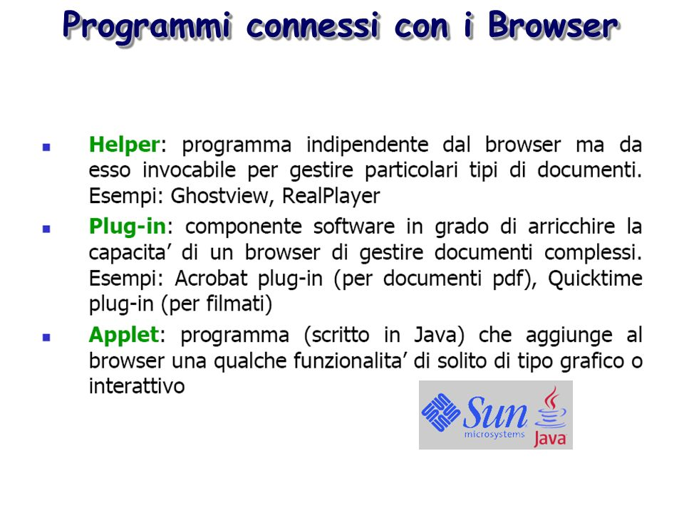 Programmi connessi con i Browser