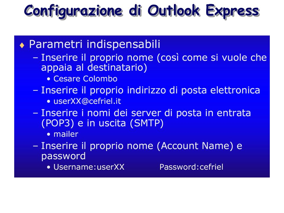 Configurazione di Outlook Express