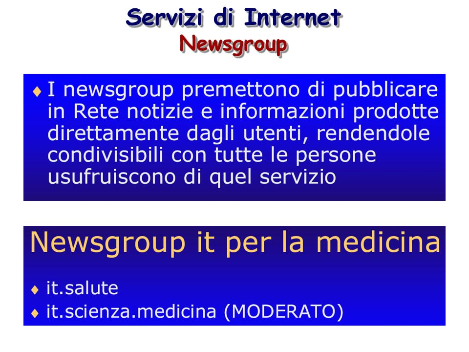 Servizi di Internet Newsgroup