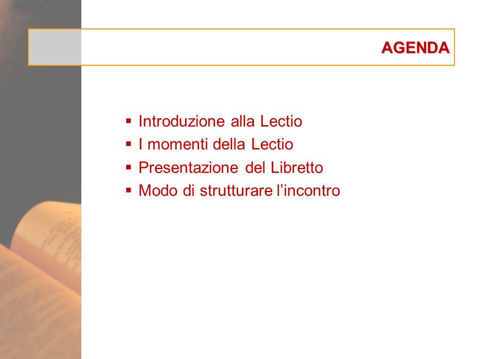 AGENDA Introduzione alla Lectio. I momenti della Lectio.