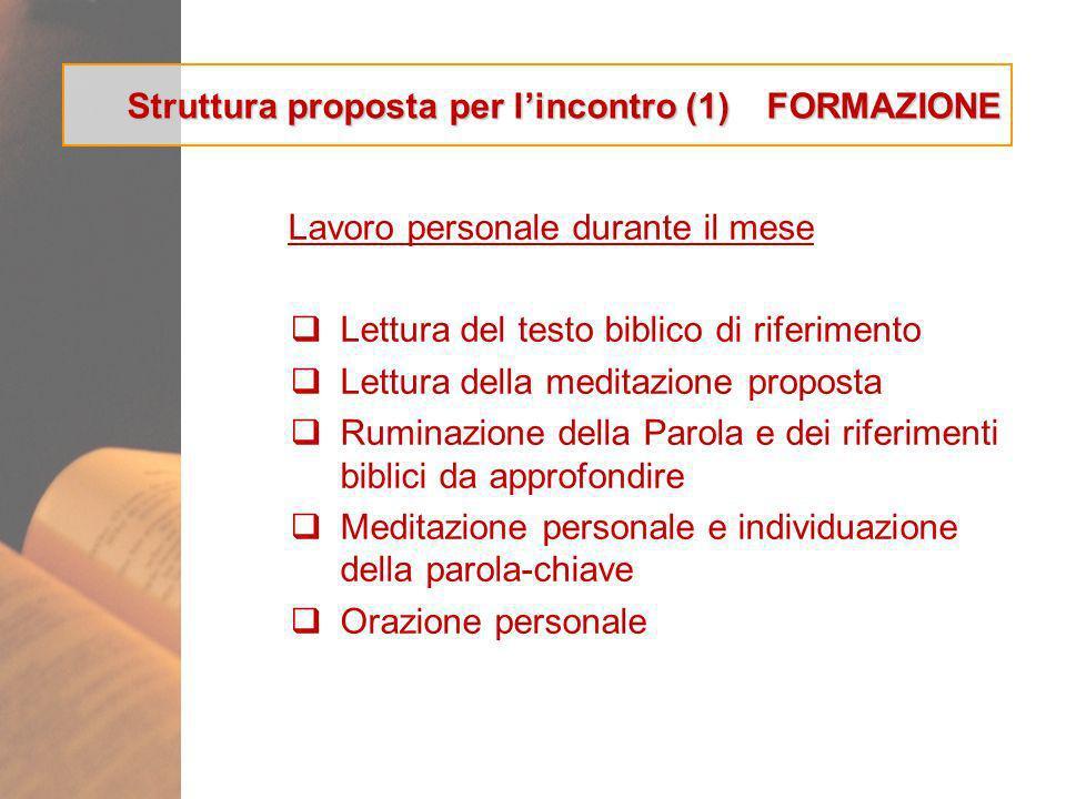 Struttura proposta per l'incontro (1) FORMAZIONE
