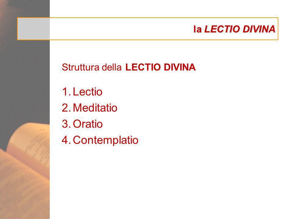Lectio Meditatio Oratio Contemplatio la LECTIO DIVINA