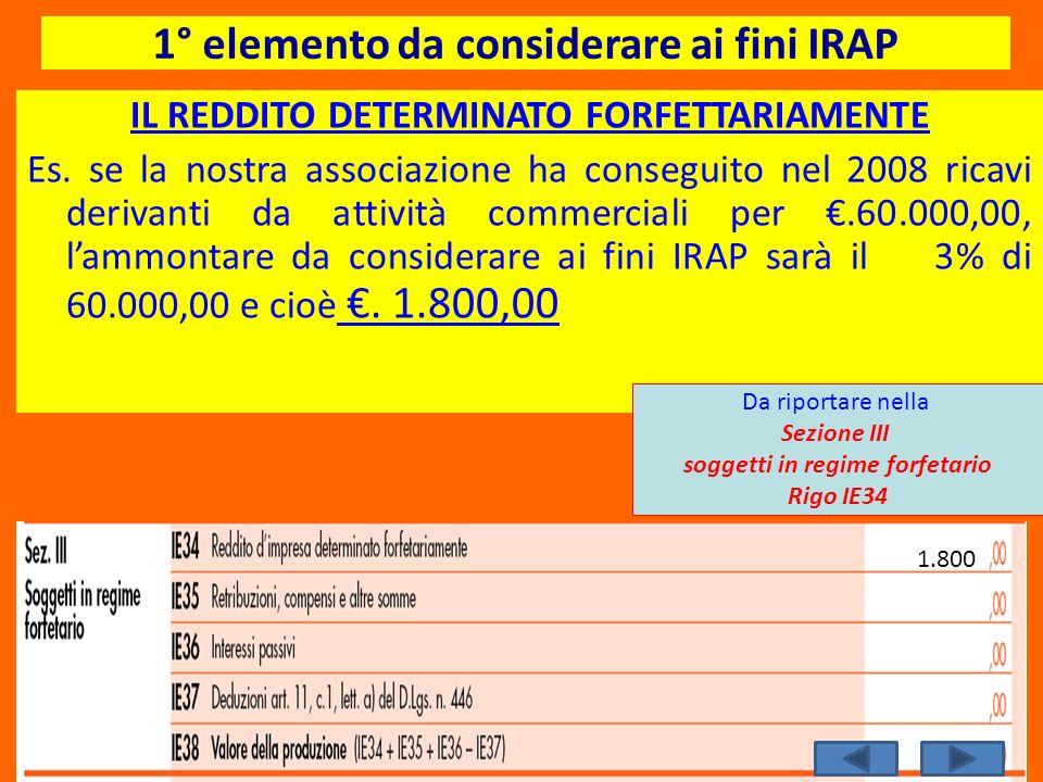 1° elemento da considerare ai fini IRAP