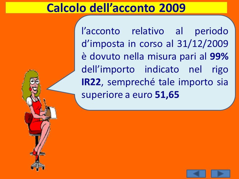 Calcolo dell'acconto 2009