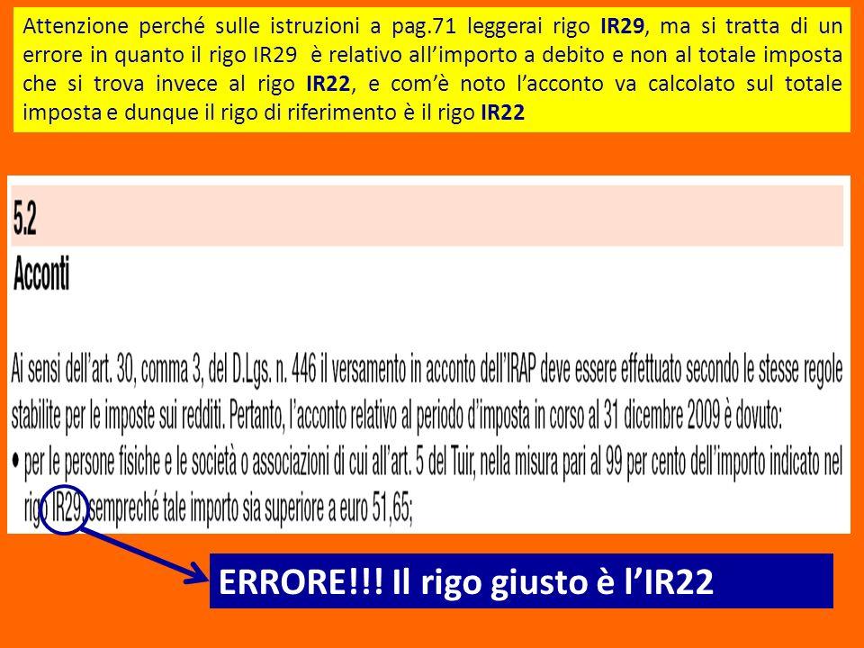 ERRORE!!! Il rigo giusto è l'IR22