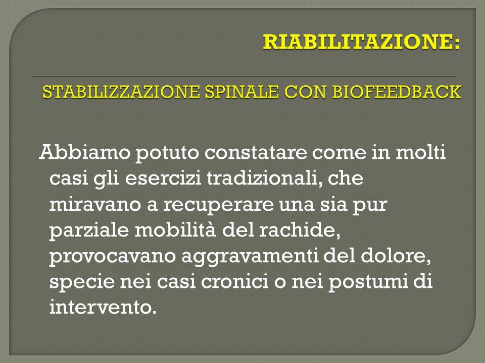 RIABILITAZIONE: STABILIZZAZIONE SPINALE CON BIOFEEDBACK
