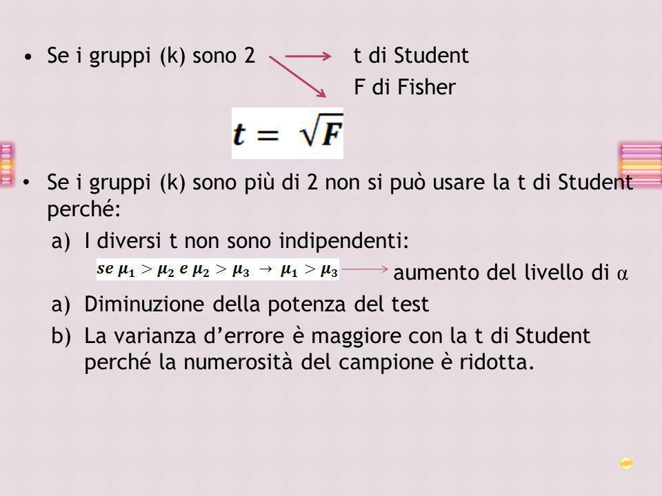 Se i gruppi (k) sono 2 t di Student