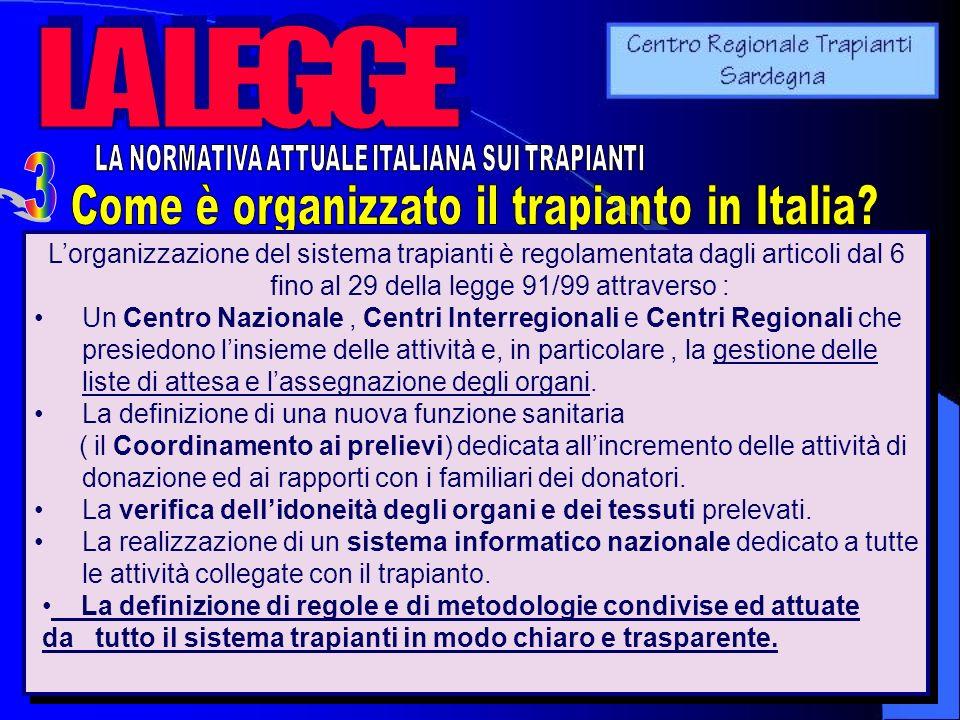 3 LA LEGGE Come è organizzato il trapianto in Italia