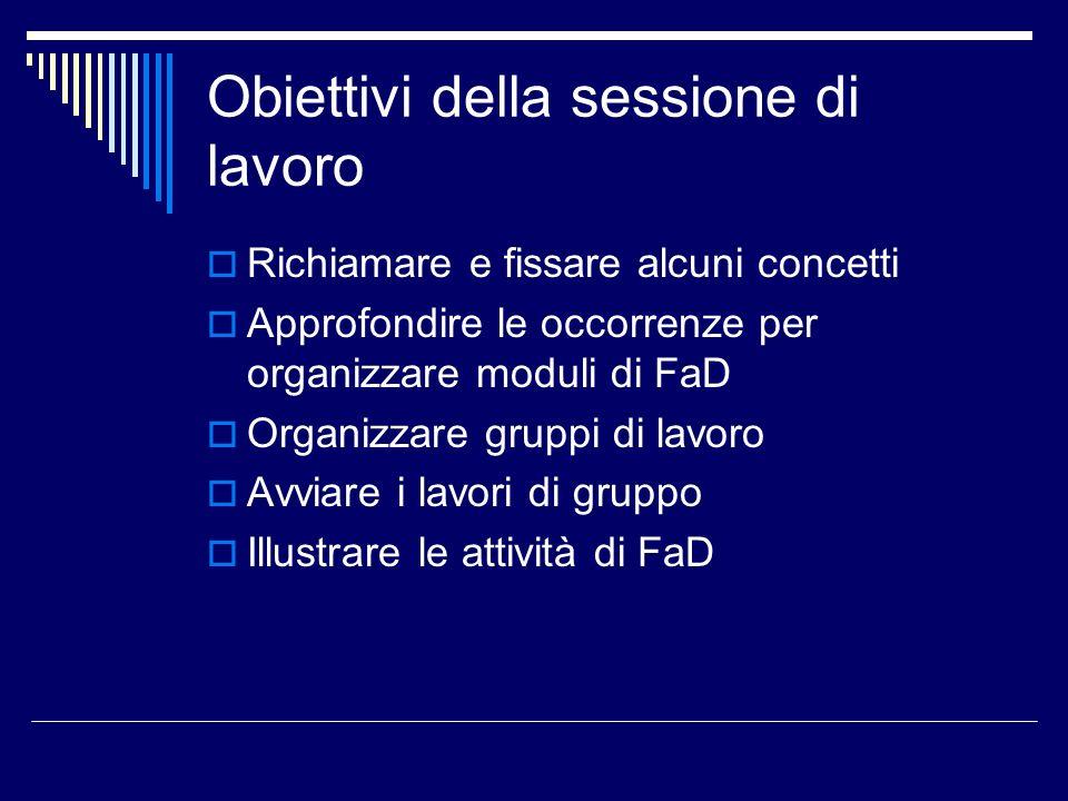 Obiettivi della sessione di lavoro