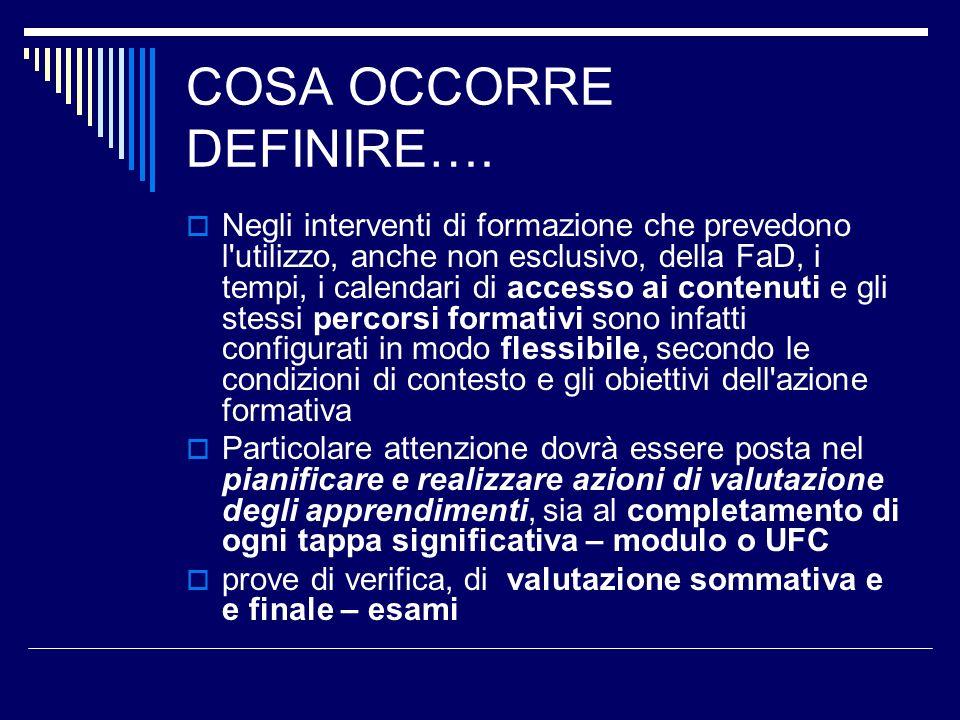 COSA OCCORRE DEFINIRE….
