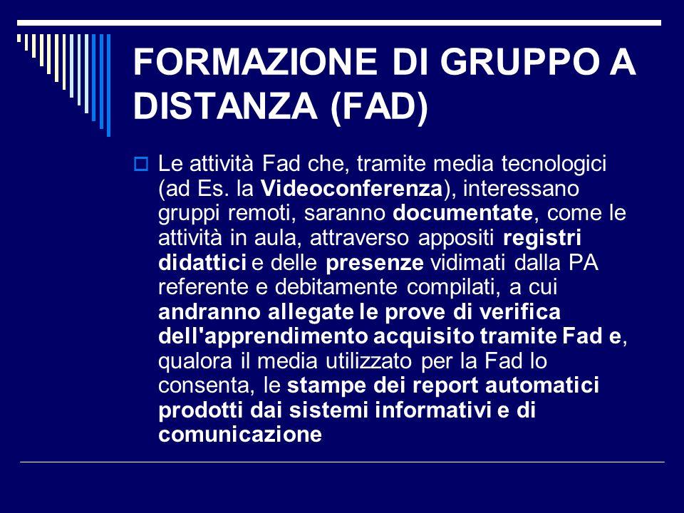 FORMAZIONE DI GRUPPO A DISTANZA (FAD)