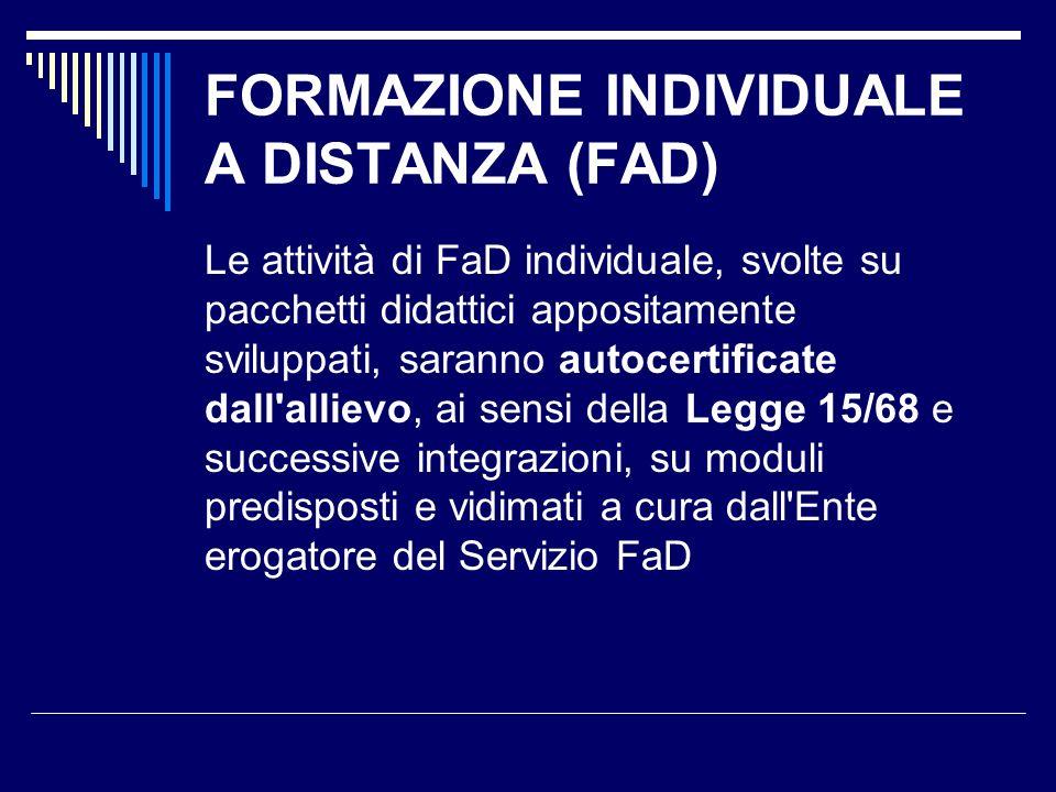 FORMAZIONE INDIVIDUALE A DISTANZA (FAD)