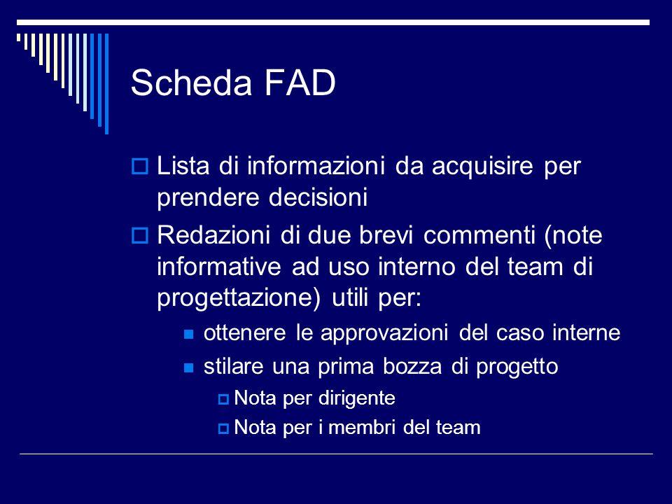 Scheda FAD Lista di informazioni da acquisire per prendere decisioni