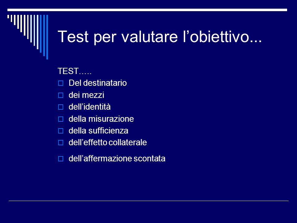 Test per valutare l'obiettivo...