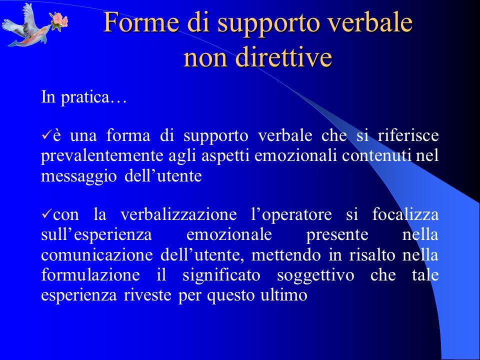 Forme di supporto verbale non direttive