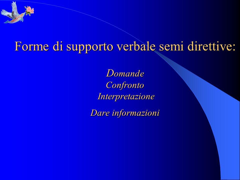 Forme di supporto verbale semi direttive: Domande Confronto Interpretazione Dare informazioni