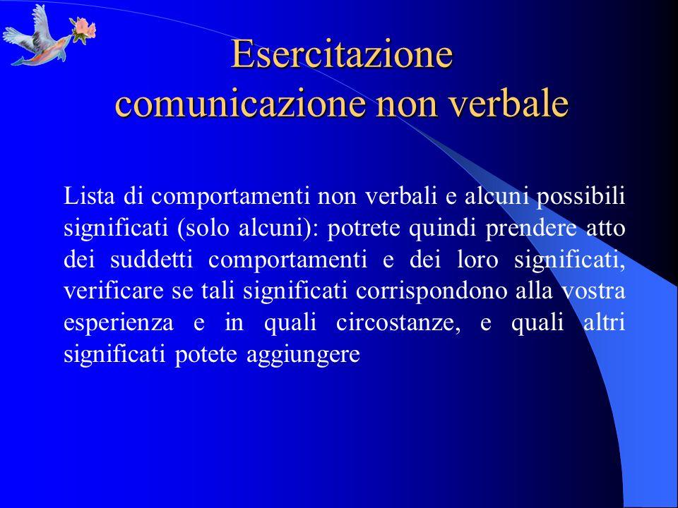 Esercitazione comunicazione non verbale