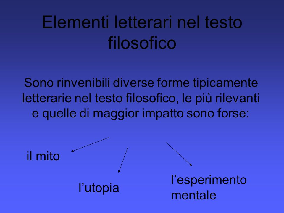 Elementi letterari nel testo filosofico