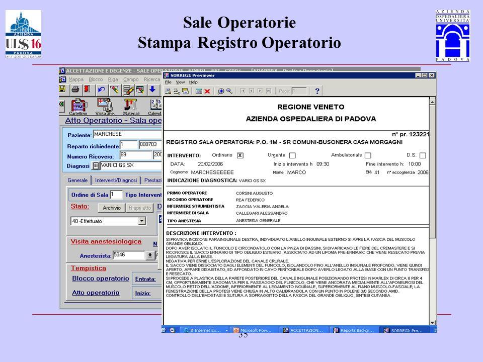 Sale Operatorie Stampa Registro Operatorio
