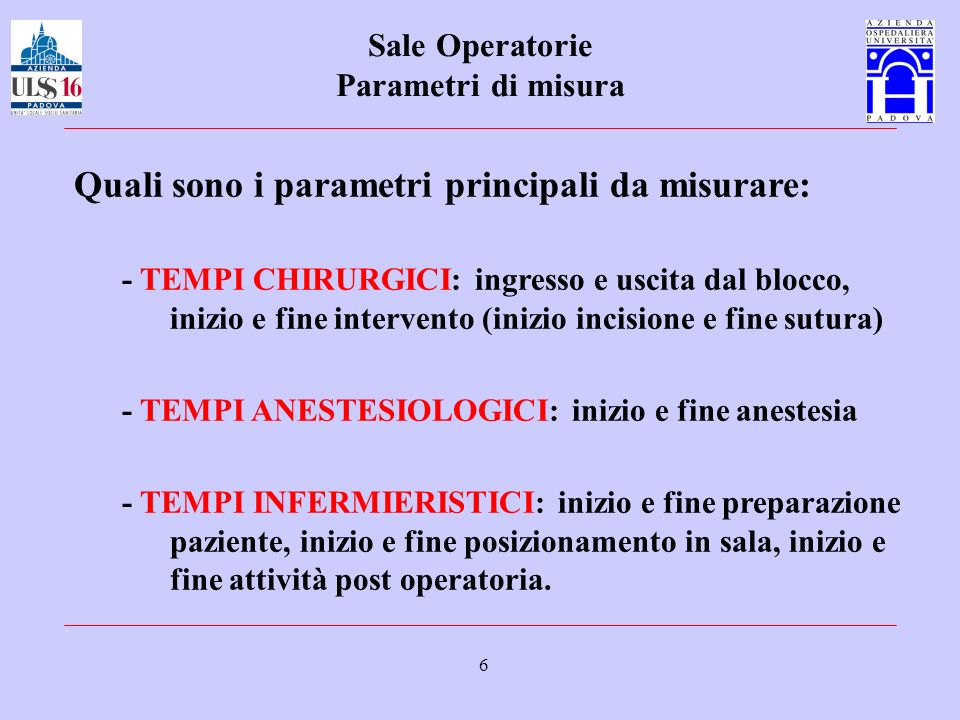 Sale Operatorie Parametri di misura
