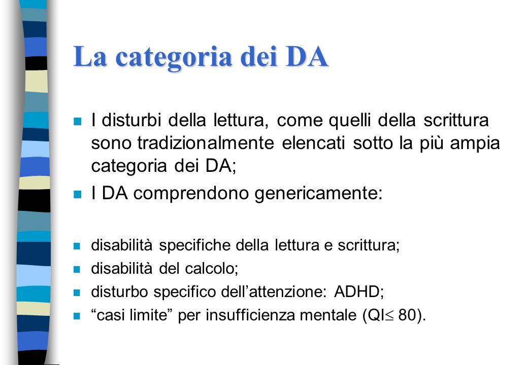 La categoria dei DA I disturbi della lettura, come quelli della scrittura sono tradizionalmente elencati sotto la più ampia categoria dei DA;