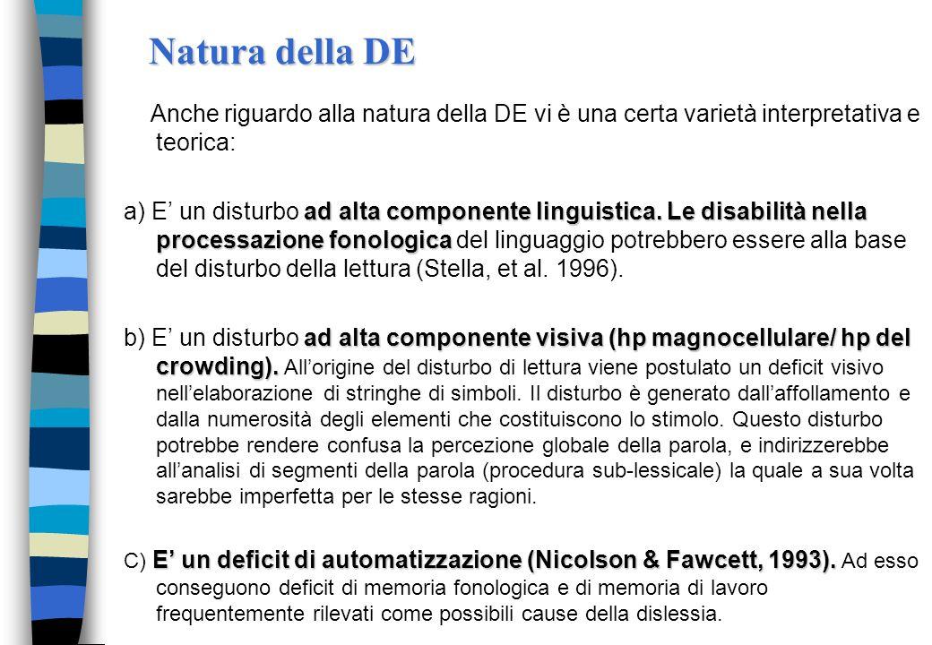 Natura della DE Anche riguardo alla natura della DE vi è una certa varietà interpretativa e teorica: