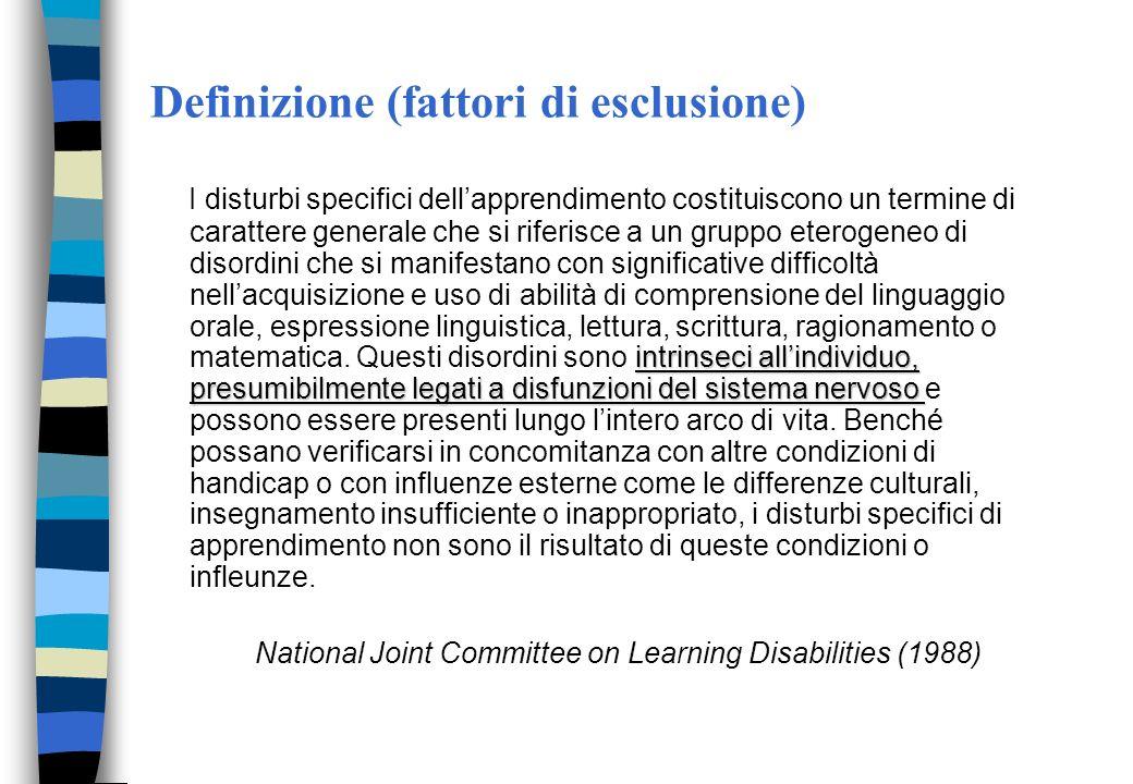 Definizione (fattori di esclusione)