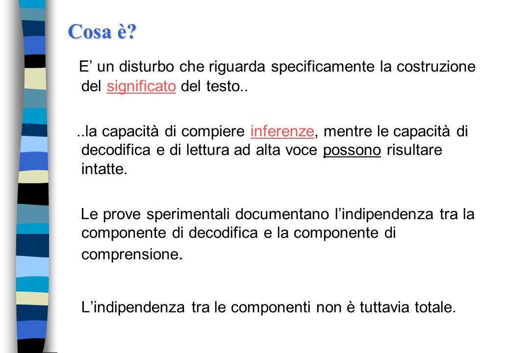 Cosa è E' un disturbo che riguarda specificamente la costruzione del significato del testo..