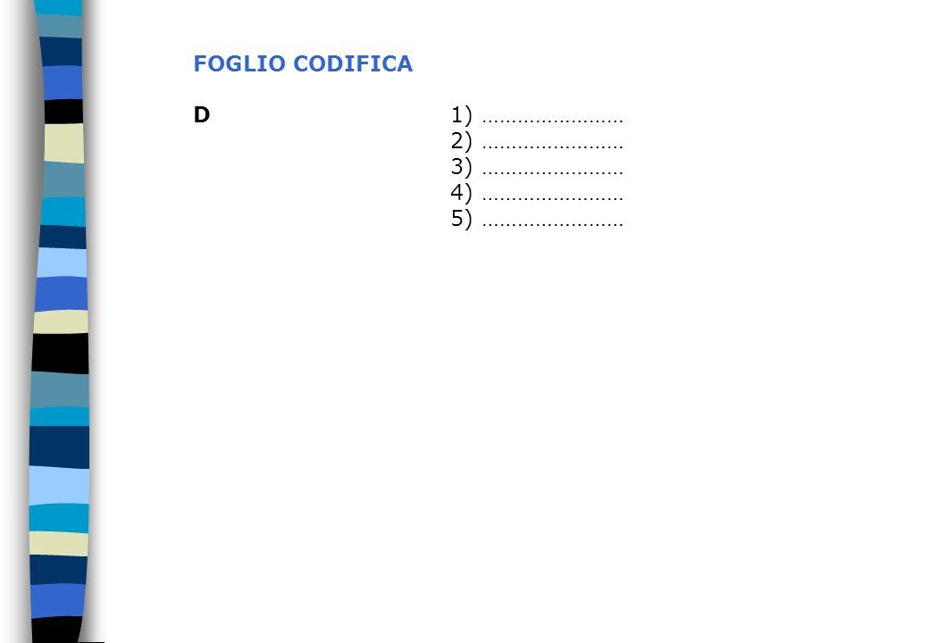 FOGLIO CODIFICA D 1) …………………… 2) …………………… 3) …………………… 4) …………………… 5) ……………………