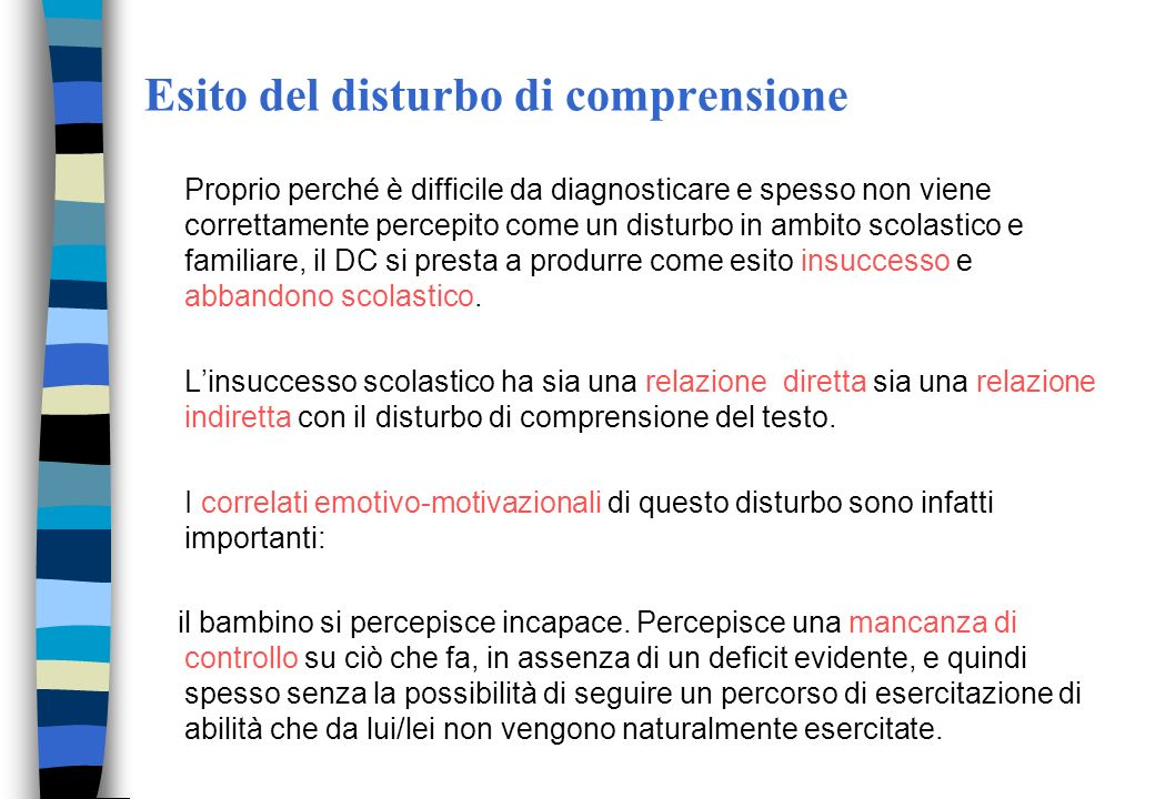 Esito del disturbo di comprensione