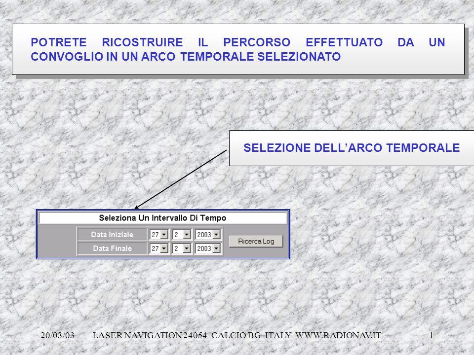 SELEZIONE DELL'ARCO TEMPORALE
