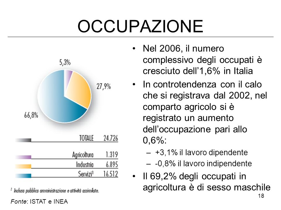 OCCUPAZIONE Nel 2006, il numero complessivo degli occupati è cresciuto dell'1,6% in Italia.