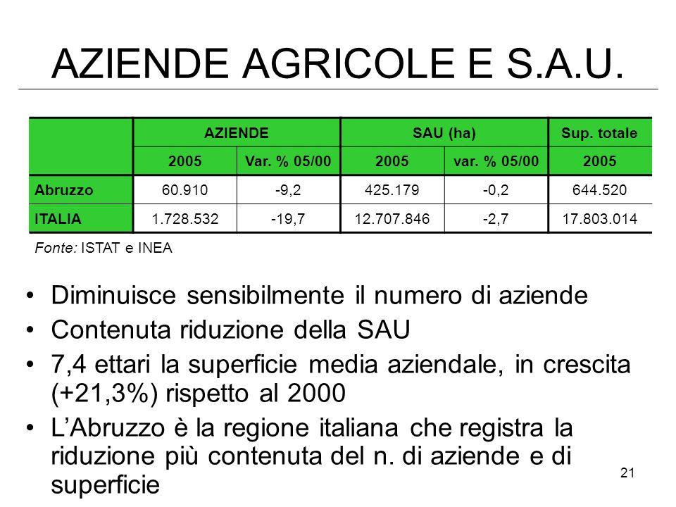 AZIENDE AGRICOLE E S.A.U. AZIENDE. SAU (ha) Sup. totale. 2005. Var. % 05/00. var. % 05/00. Abruzzo.