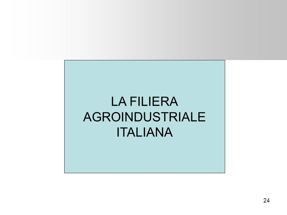 LA FILIERA AGROINDUSTRIALE ITALIANA