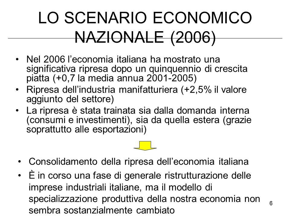 LO SCENARIO ECONOMICO NAZIONALE (2006)