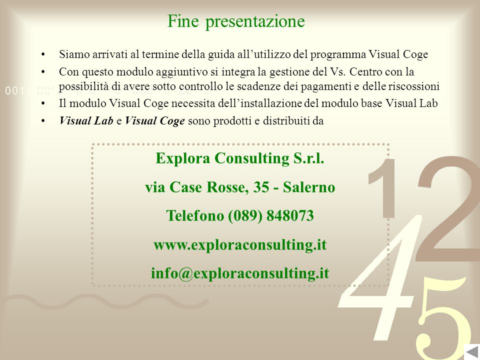 Explora Consulting S.r.l. via Case Rosse, 35 - Salerno