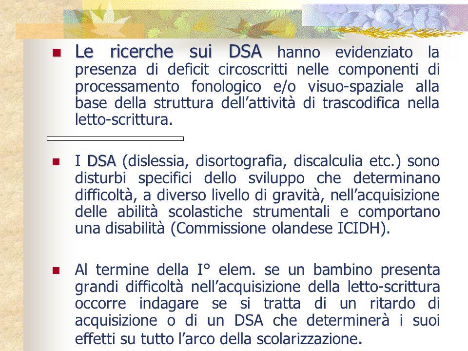 Le ricerche sui DSA hanno evidenziato la presenza di deficit circoscritti nelle componenti di processamento fonologico e/o visuo-spaziale alla base della struttura dell'attività di trascodifica nella letto-scrittura.