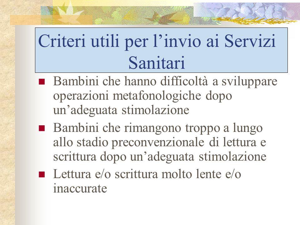 Criteri utili per l'invio ai Servizi Sanitari